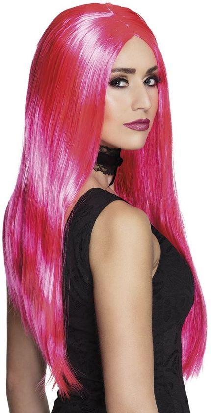 Pruik Witch neon roze