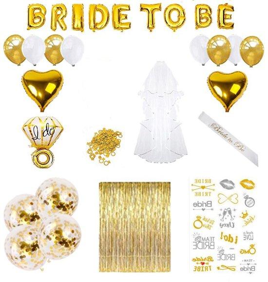 Vrijgezellenfeest vrouwen artikelen ALL-IN decoratie voor een knalfeest incl gouden gordijn, sluier, sjerp en veel meer vrijgezellenfeest vrouwen accessoires - Goud Valentinaa
