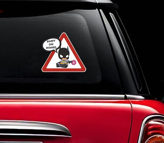Baby on board auto sticker met batman afbeelding