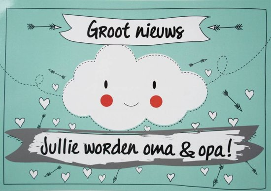 bol | kraskaart - jullie worden opa en oma! - funny clouds model