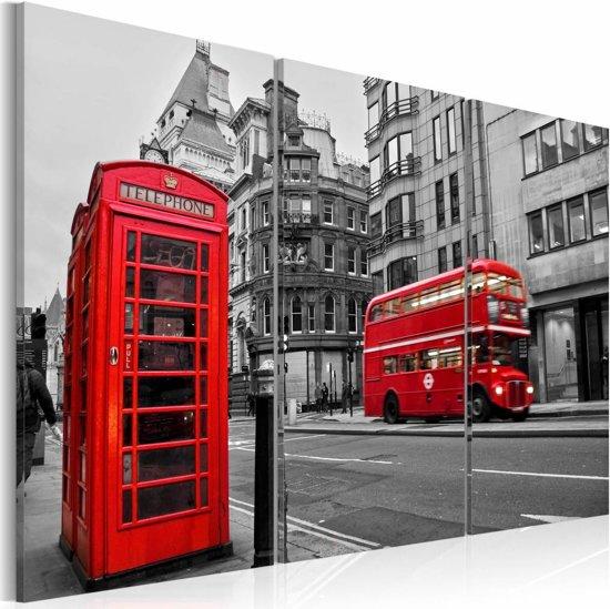 Schilderij - Het leven in Londen, Rood, 2 Maten, 3luik