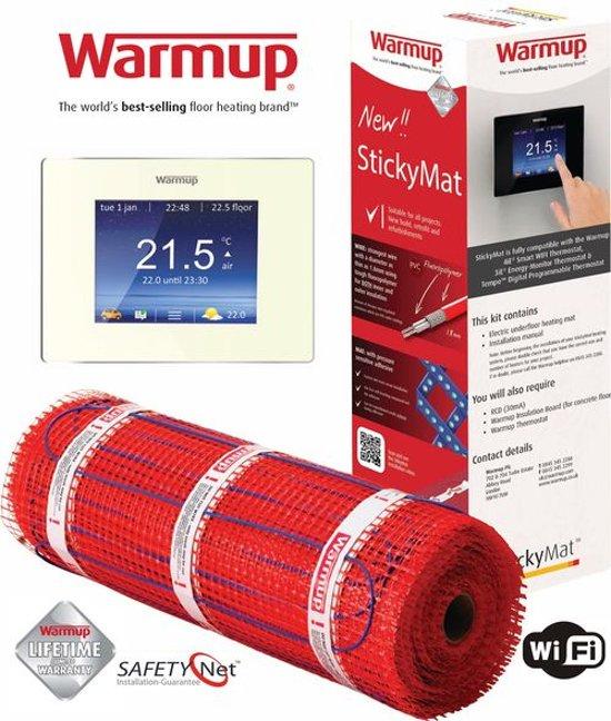 Vloerverwarming Warmup StickyMat 150watt/m2 5m2 Incl. geavanceerde wifi thermostaat 4IE Wit