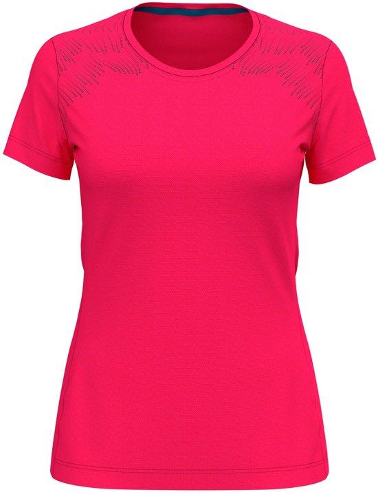 Odlo Bl Top Crew Neck S/S Core Light Print Sportshirt Dames - Diva Pink-Placed Print - Maat S