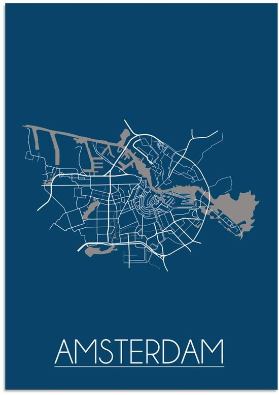 Plattegrond Amsterdam Stadskaart poster DesignClaud - Blauw - B2 poster