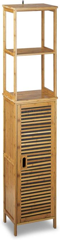 bol.com | relaxdays badkamerkast bamboe badkamer rek muurbevestiging ...
