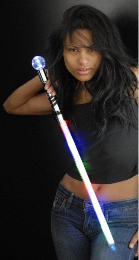 LED licht zwaard met bol 70 cm