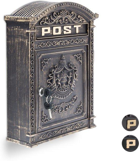 relaxdays brievenbus Engelse muur-brievenbus nostalgie, A4 formaat, antiek zwart