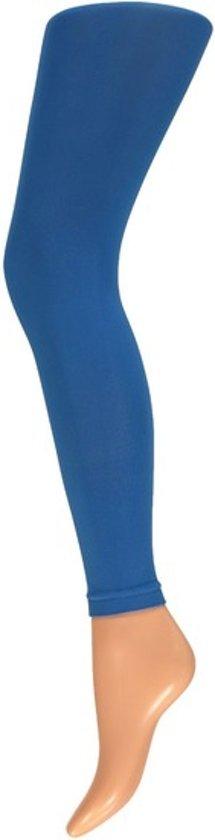 Dames party leggings kobalt blauw 200 denier - Verkleedlegging basic blauw L/XL