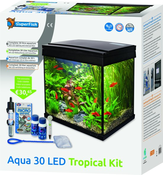 superfish aqua 30 led tropical kit aquarium zwart 25 30l 36 x