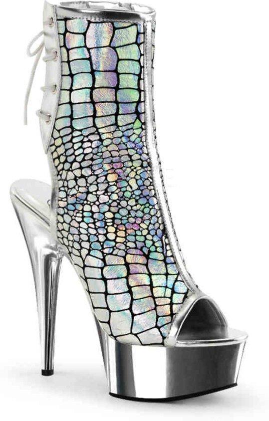 Pleaser Enkellaars -40 Shoes- DELIGHT-1018HG Zilverkleurig