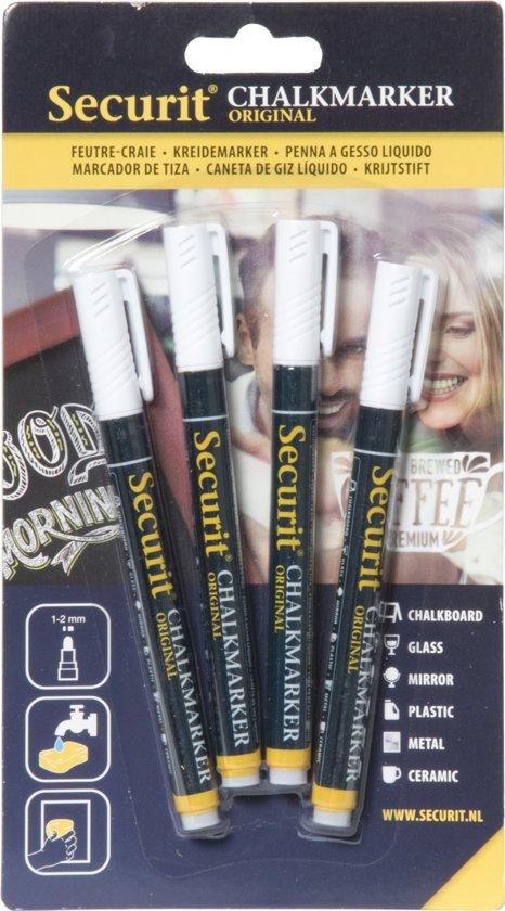 Securit Krijtstiften fineliner set van 4  - wit
