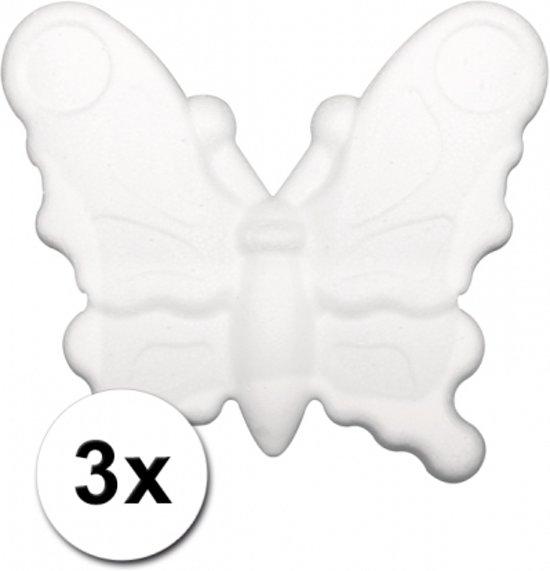 3 piepschuim vlinders 12,5 cm - Styropor figuren