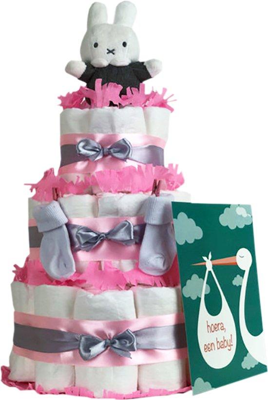 Luiertaart Nijntje meisje 3-laags roze | 45 A-merk Pampers | schattige sokjes | XL geboortekaart | ideaal voor babyshower, kraamcadeau en Baby cadeau