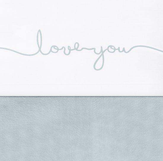 Jollein Love you Laken 120x150cm wit met stone green tekst