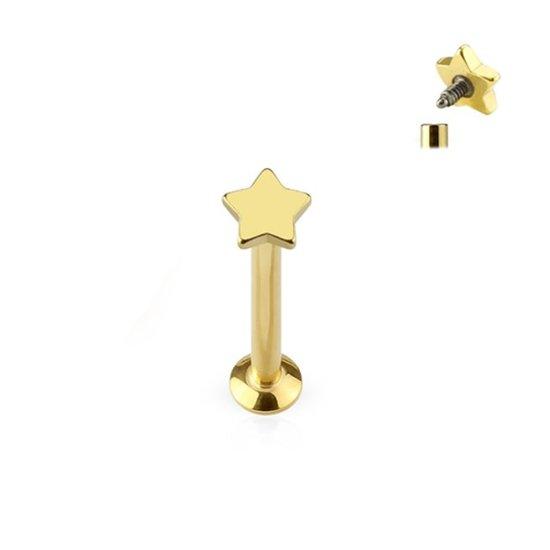 Helix piercing ster goud kleurig 4 mm