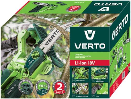 Accu Kettingzaag 18v, LI-ION Verto Energy System, 2 Accu's