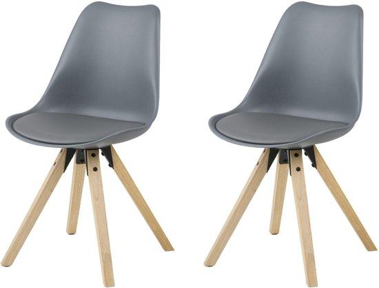 Bol.com 24designs stoel dex grijze zitting houten poten set