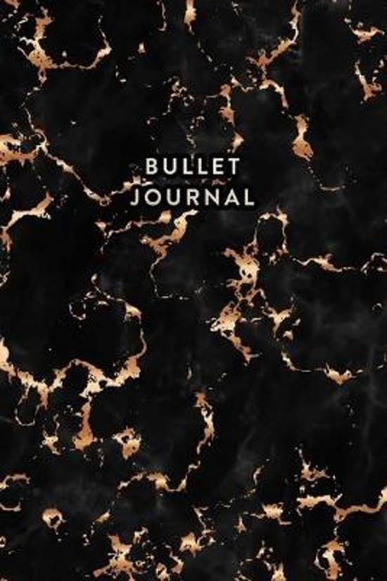 Bullet Journal: Trendy Black Marble and Gold - 6 x 9 - 100 pages - Dot Grid Bullet Journal Notebook, Gift for Women and Teen Girls ( C