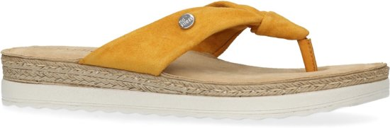No Stress - Dames - Okergele leren slippers