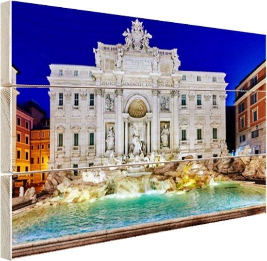 Prachtig verlichte Trevi fontein Rome Hout 120x80 cm - Foto print op Hout (Wanddecoratie)