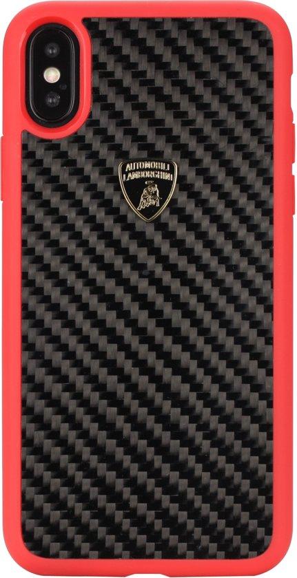 Lamborghini backcover hoesje S-Skin Apple iPhone X-Xs Rood - Carbon fiber - Carbon fiber