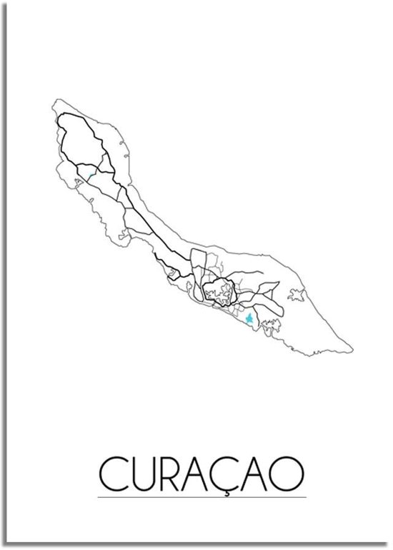 Plattegrond Curacao Stadskaart Poster DesignClaud - Wit - A3 poster