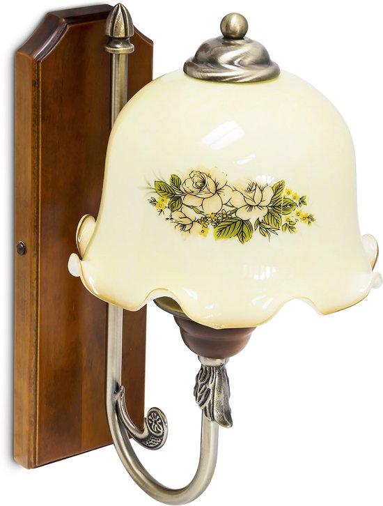 relaxdays - wandlamp - shabby chic landhuis - bloemenpatroon wand lamp wandlicht