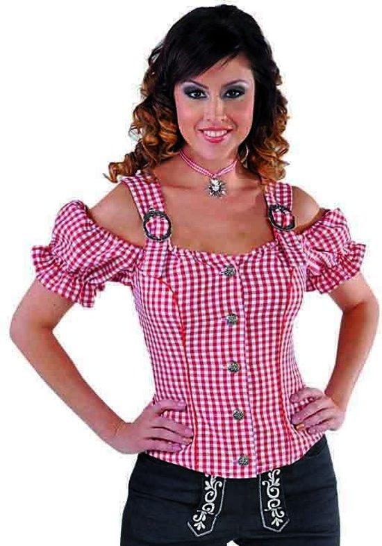 Wit Rood Maat 5052 Oktoberfest Tirools Dames xxl Bloesje Kleding 1dxOdAP