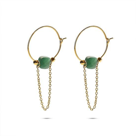 Twice As Nice Oorbellen in goudkleurig edelstaal, oorring met ketting en groen steentje Nvt