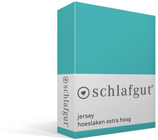 Schlafgut - Jersey - Stretch - Hoeslaken - Tweepersoons - 120/130x200/220 cm - Turquoise