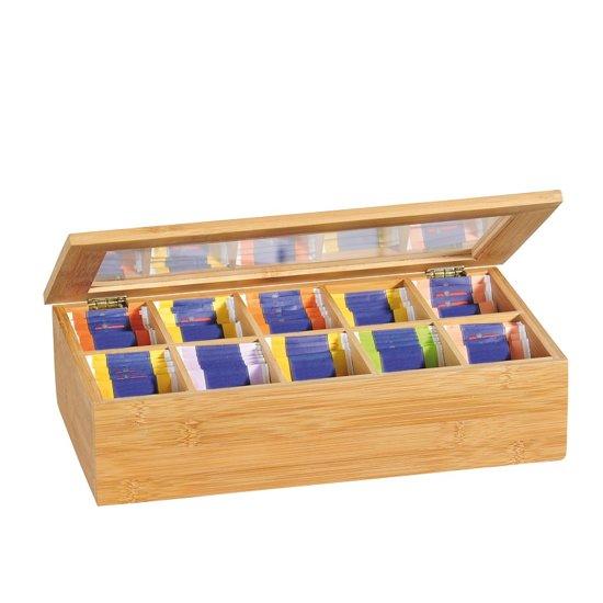 FSC® Bamboe Theedoos met 10 Vakken | Theekist Bamboe hout | Met deksel en venster | Thee Doos / Thea Box |  Afm. 36 x 20 x 9 Cm.