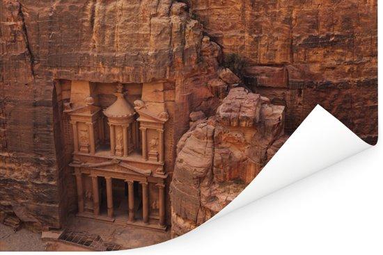 Oude tempel uit zandsteen gesneden Petra in Jordanië Poster 60x40 cm - Foto print op Poster (wanddecoratie woonkamer / slaapkamer)