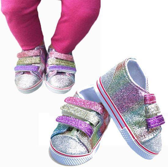Glitter gympies voor pop zoals Baby Born - schoenen met klittenband