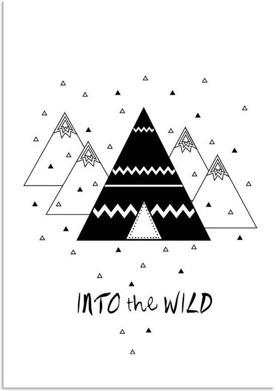 bol | kinderkamer poster - into the wild zwart wit - tipi - a3, Deco ideeën