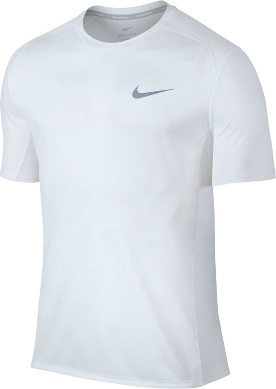 Nike Dry Miler Hardloop T-shirt Heren Sportshirt - Maat L  - Mannen - wit/zwart