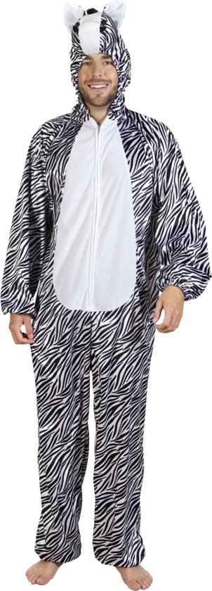 3 stuks: Zebra Onesie volwassenenkostuum - Pluche - max. 1.95m