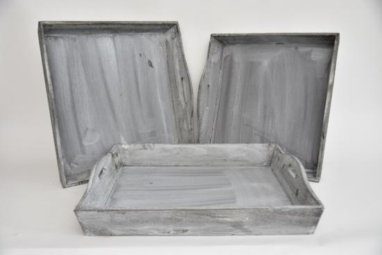 Dienblad Hout Grey-Wash 50x50x7cm (set van 3)