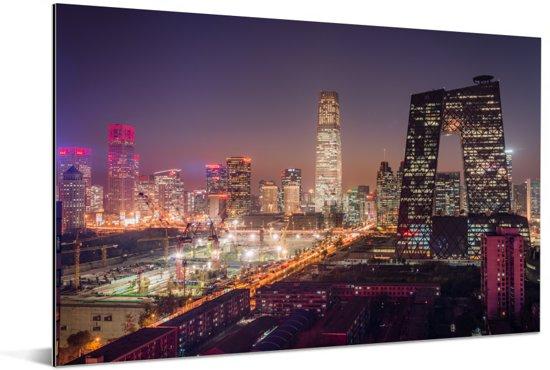 Kleurrijke lucht boven Beijing Aluminium 60x40 cm - Foto print op Aluminium (metaal wanddecoratie)