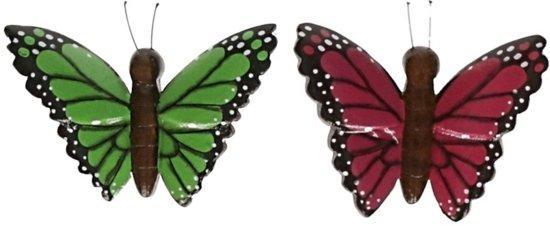 2x Houten dieren magneten groene en roze vlinder