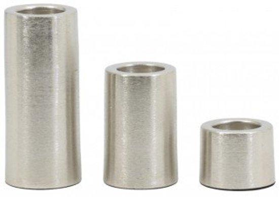 Theelichthouder set 3 zilver theelicht kandelaar metaal mat Ø6X5/10/15 CM