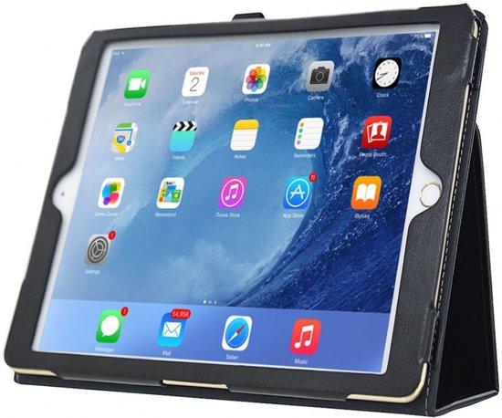 Ipad 2017; Stand Smart Case voor uw Apple Ipad 2017, Handgemaakt hoesje in business uitvoering, extra luxe, zwart , merk i12Cover in Vossenberg