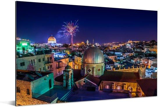 Vuurwerk boven Jeruzalem en de Heilig Grafkerk Aluminium 90x60 cm - Foto print op Aluminium (metaal wanddecoratie)