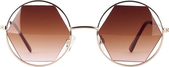 Icon Eyewear Jolie - Ronde Dames Zonnebril met Hexagon Lens Valentinaa