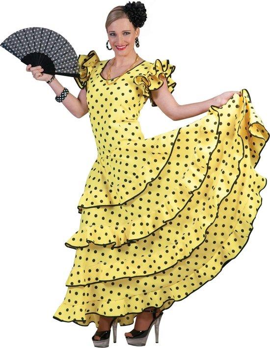 Spaans & Mexicaans Kostuum   Ole Ole Lange Gele Flamencojurk Vrouw   Maat 32-34   Carnaval kostuum   Verkleedkleding