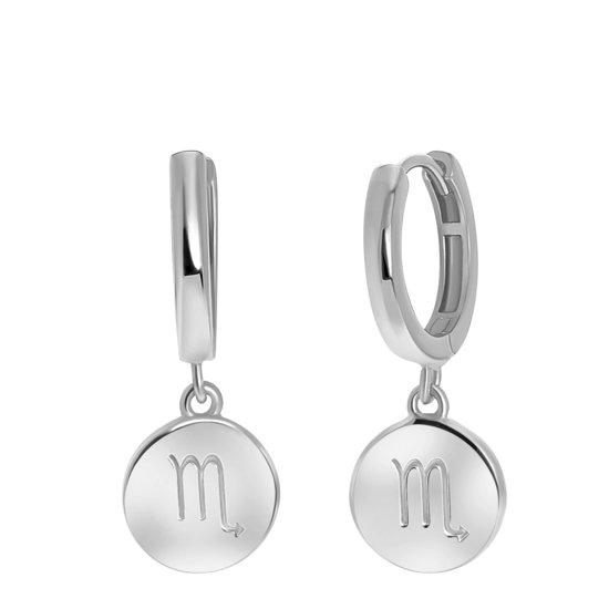 Lucardi - Zilveren oorbellen disc sterrenbeeld