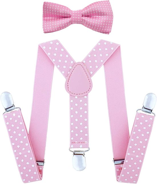 Fako Fashion® - Kinder Bretels Met Vlinderstrik - Stippen - 65cm - Roze