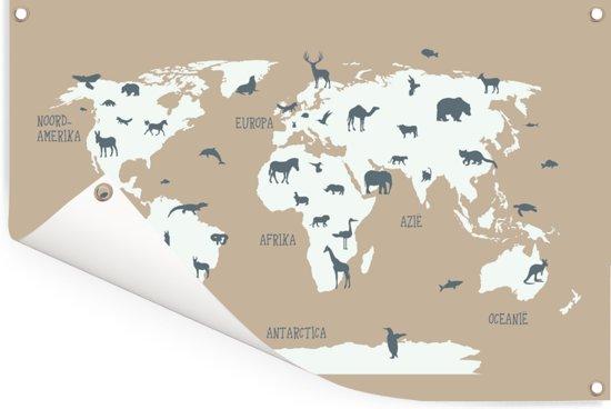 Witte wereldkaart met dieren Tuinposter 120x80 cm