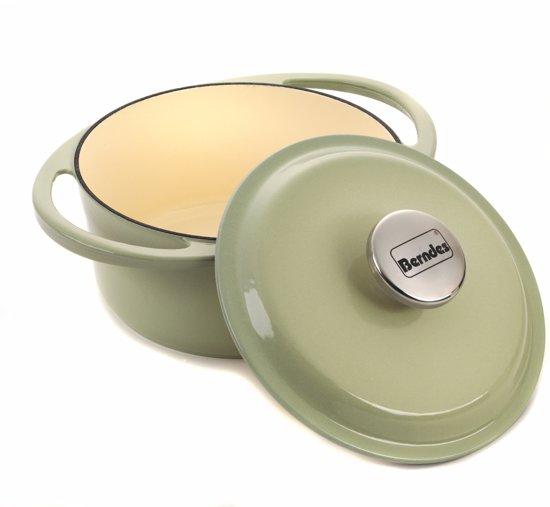 Berndes, Gietijzeren Pan rond 2.4L, Lichtgroen, Geschikt voor alle kookplaten