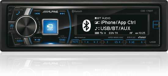 Alpine CDE-178BT - Autoradio Enkel DIN - USB - CD - Bluetooth