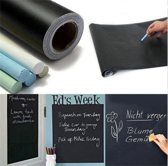 Krijtbord Sticker / Schoolbord Sticker - Kinder Krijtsticker - Muursticker stickerrol + Kalkbord Krijtjes 45 x 200 cm